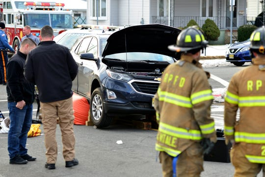 A woman was struck by a car while walking her dog along Rochelle Ave at Chestnut St in Rochelle Park on Thursday February 14, 2019. The woman was transported to the hospital with injuries.