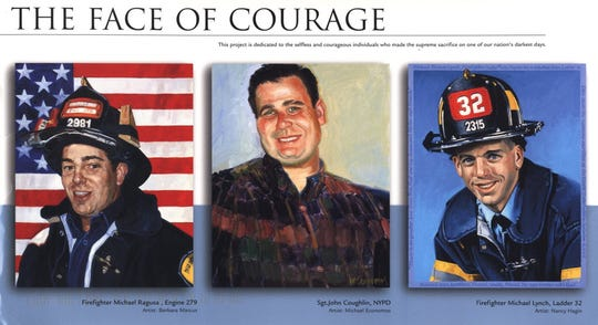 "New York City Police Sgt. John Coughlin (center), who grew up in Cresskill, died on 9/11 and his portrait was part of ""Face of Courage"", a 2003 exhibition of portraits representing 59 fallen firefighters and police officers who lost their lives that day."