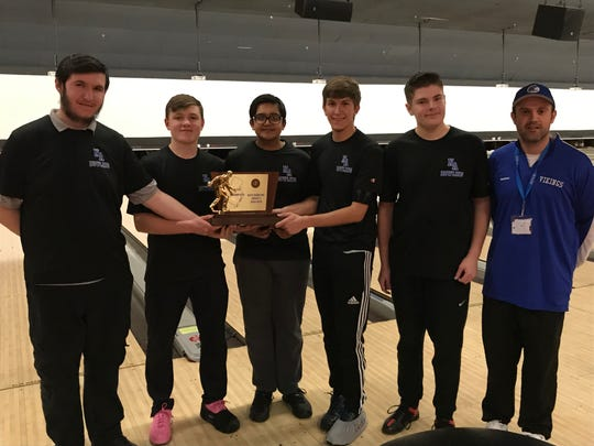 North Arlington won the Group 1 championship at the NJSIAA boys bowling team finals on Thursday, Feb. 14, 2019 at Bowlero North Brunswick. From left: Liam Henkel, Eric McKenna, Rahul Patel, Trent Petito, Peyton Esposito and coach Dan Farinola.