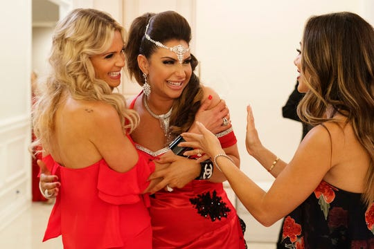 "Left to right,  Jackie Goldschneider, Jennifer Aydin, Melissa Gorga on the Season 9 finale of ""The Real Housewives of New Jersey."""