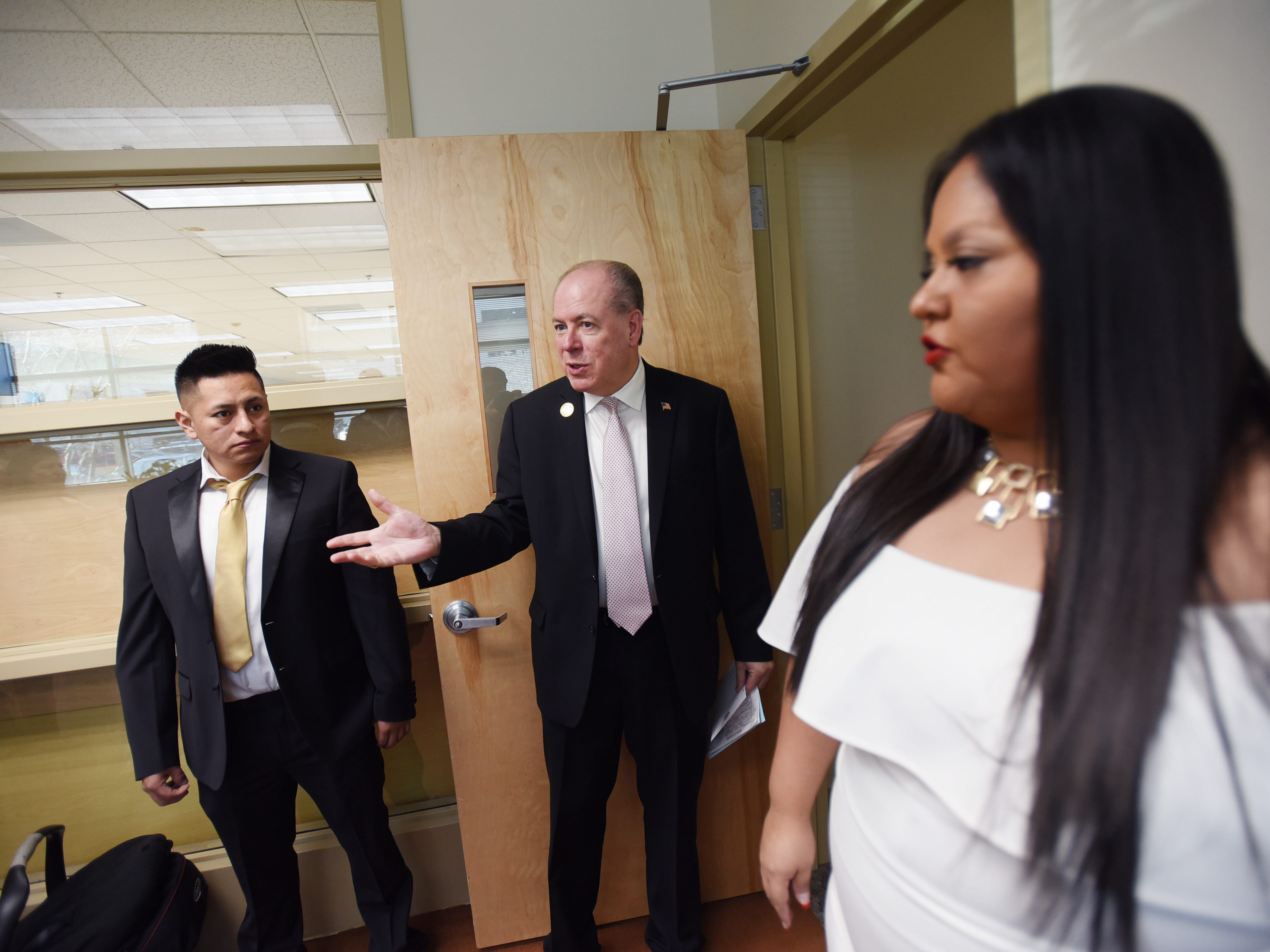 Bergen County Clerk John S. Hogan invites bride and groom, Yesenia Urgiles and Cesar Guartan of Hackensack to his office   prior to their wedding ceremony at Bergen County Clerk's Office, located at  Bergen County Plaza in Hackensack on 02/14/19.