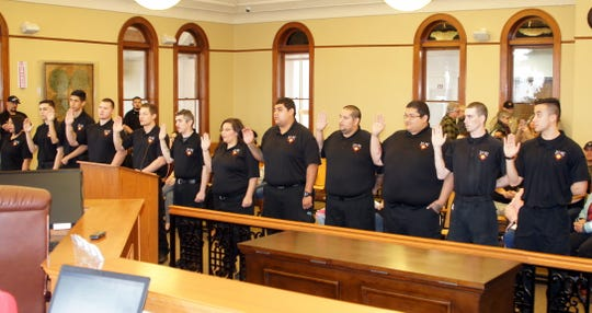 New recruits for the Luna County Detention center took the oath as administered by New Mexico Sixth Judicial District Judge Jennifer E. Delaney at Thursday's Luna County Board of Commissioners meeting at the historic Luna County Courthouse. The oath taken was the past official procedure to becoming Luna County corrections officers.