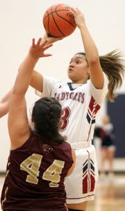 Lady 'Cat freshman Harmanie Dominguez (3) led all scorers with 17 points in Tuesday's 56-43 home win over the Gadsden High Panthers.
