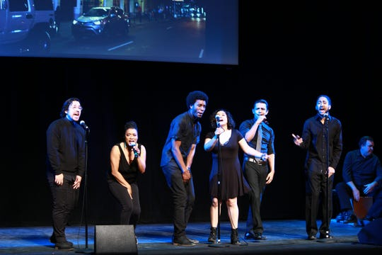 """Singers presenting a song from """"Hamilton"""" during one of Megan McQueen's presentations. Photo by Karina Ortega."""