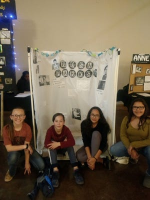 Briley Eaton sixth-grade, River Mc Dowell seventh-grade, Eliza Aguirre seventh-grade, Jocelyn Gonzalez seventh-grade, from Mesilla Valley Leadership Academy participated in the National History Day competition at the Farm and Ranch Museum on Friday, Feb. 8. The group's presentation was on civil rights pioneer Rosa Parks.