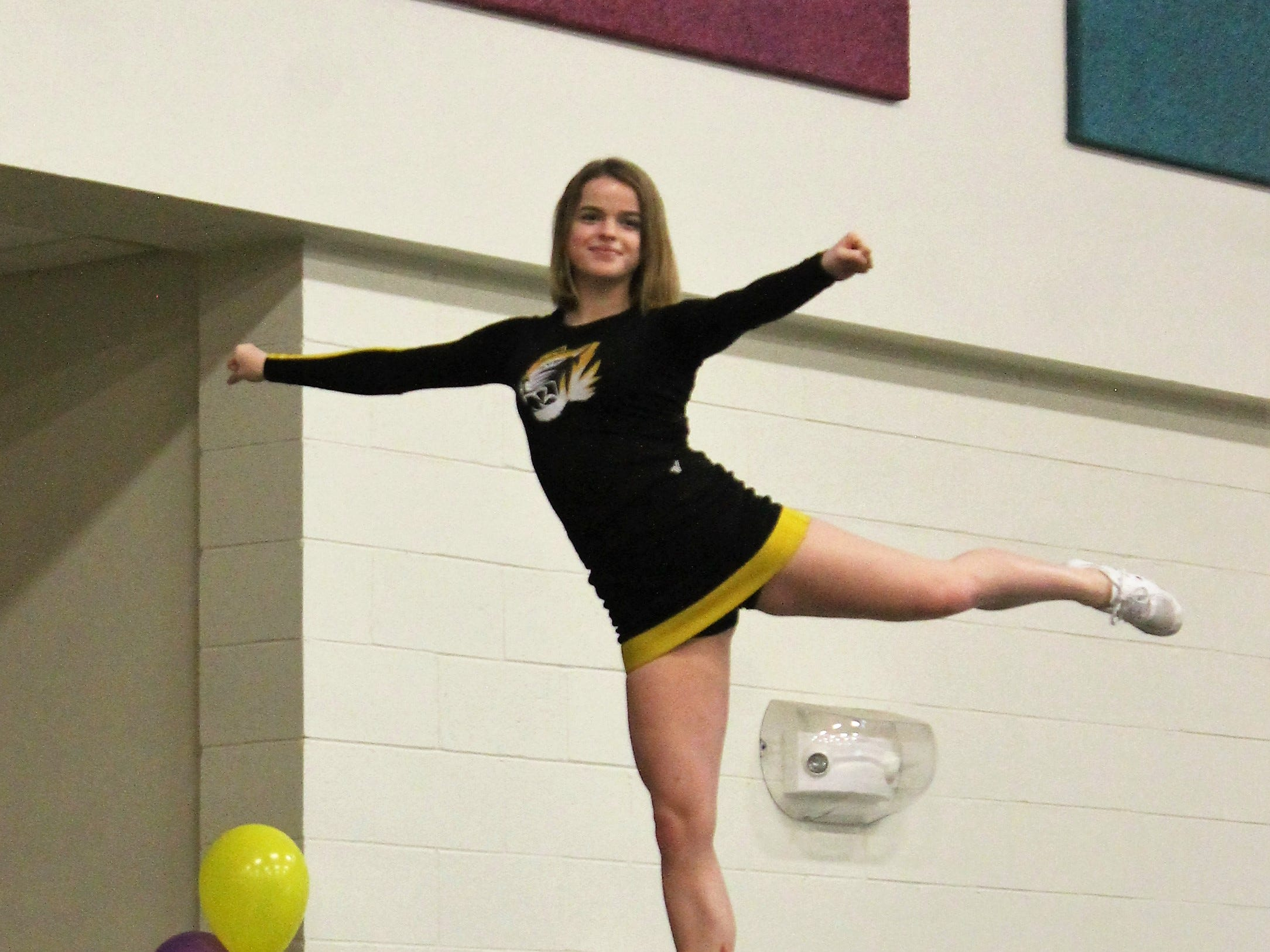 The Alamogordo High School cheerleaders performed for Desert Star Elementary students and staff at an assembly Feb. 14.