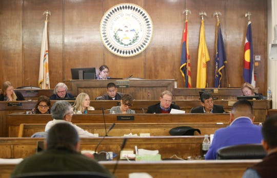Navajo Transitional Energy Company representatives gave an update about the pending Navajo Generating Station and Kayenta Mine acquisition to the Naa'bik'íyáti' Committee on Wednesday at the council chamber in Window Rock, Ariz.