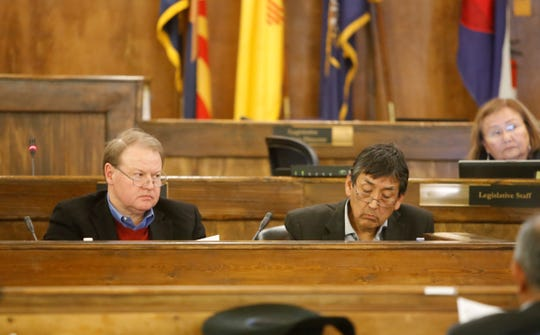 From left, Bernard Masters, legal counsel for the Navajo Transitional Energy Company, and Steve Grey, governmental and external affairs director for NTEC, gave an update on Wednesday about the company's possible action to acquire the Navajo Generating Station and the Kayenta Mine.