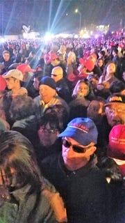 Massive crowd overflows civic center in El Paso for Trump rally.