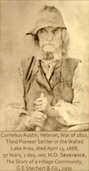 """Cornelius Austin, War of 1812 veteran and former Novi resident, as pictured in """"The Story of a Village Community"""" by H.O. Severance, 1931."""
