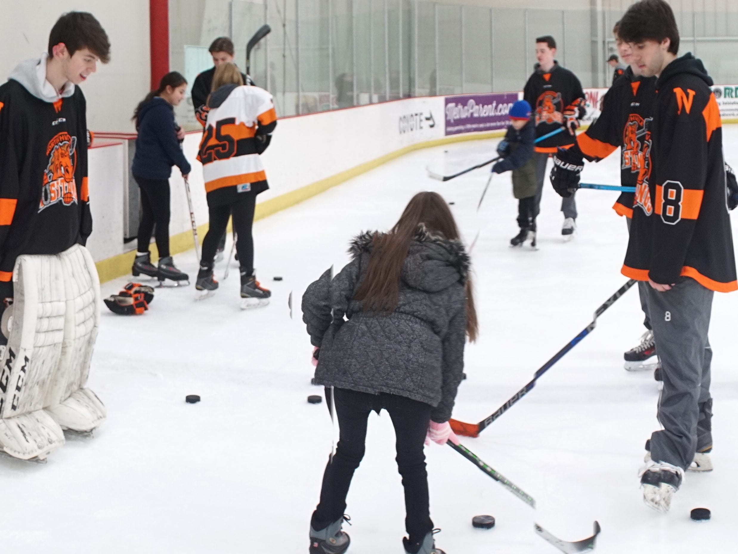 Northville High hockey players and their visitors from Neinas Elementary in Detroit on the frozen surface of the Novi Ice Arena on Feb. 13.