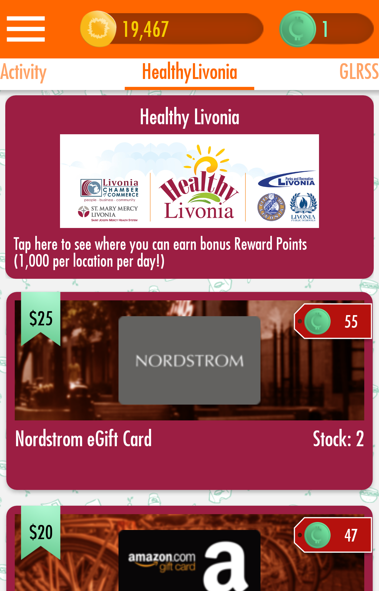 A screenshot of the Carrot app, complete with information from the Healthy Livonia initiative.