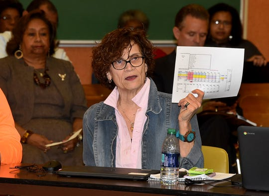 St Landry Parish School Board President Mary Ellen Donatto addresses fellow board members during a public forum held Wednesday.