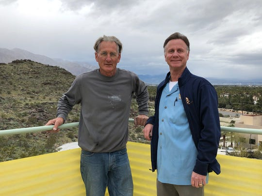 Designer and craftsman John Vugrin (left), who has completed all the restoration work on the Albert Frey-designed Cree House II, owned by Sam Harris (right)