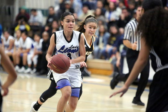 Cathedral City's Nina Wallace looks to pass during the playoff game on Wednesday, February 13, 2019.