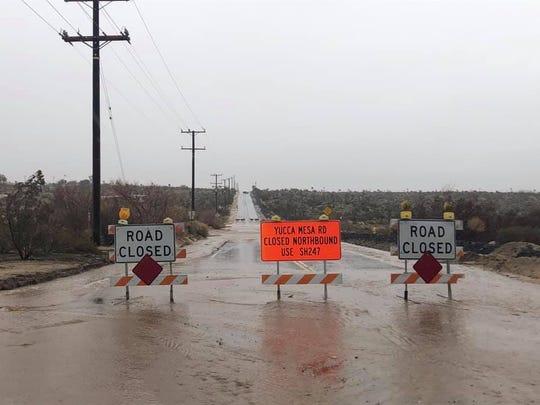 Road closure at Yucca Mesa Road in Yucca Valley, Calif. on Feb. 14, 2019.
