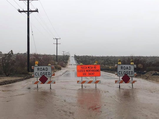 Road closure at Yucca Mesa Road in Yucca Valley, Calif. on Feb. 14, 2019.