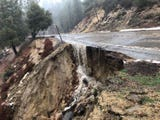 Rain and flooding created a sinkhole in Highway 243 at Hurley Flats to I-10, and at Saunders Meadow near Idyllwild on Thursday, February 14, 2019.