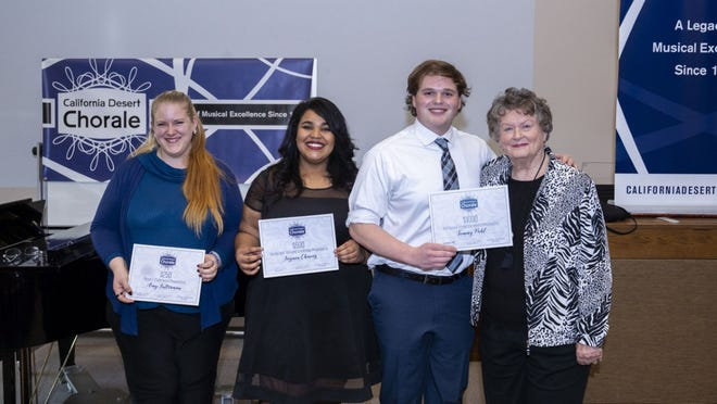 Scholarship Recipients (L-R): Amy Futterman, People's Choice Award; Jazmin Chavez, 2nd Place Winner; Tommy Pahl, 1st Place Winner; Nancy Williams, Co-Founder of California Desert Chorale.