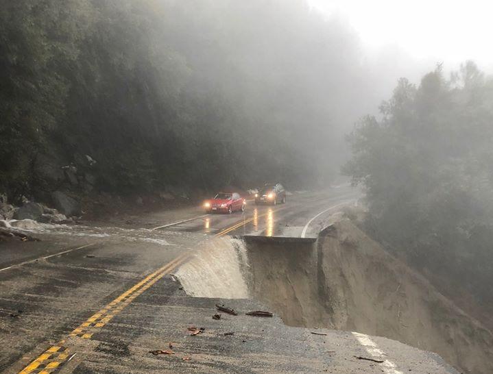A sinkhole destroyed part of Highway 243 near Idyllwild, Calif., on February 14, 2019.