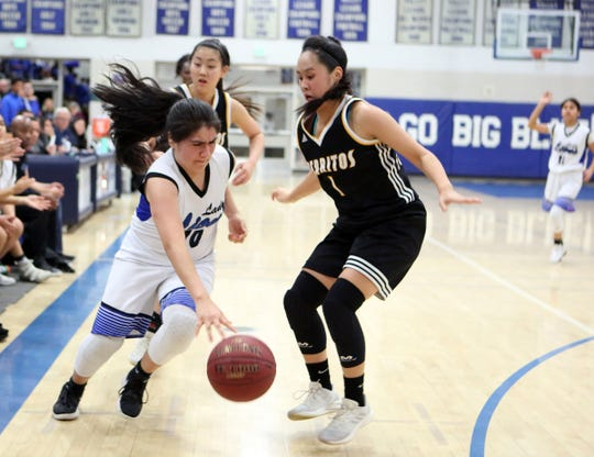 Cathedral City's Katie Alcantar dribbles the ball against Cerritos' Lindsay Fujihiro on Wednesday, February 13, 2019.