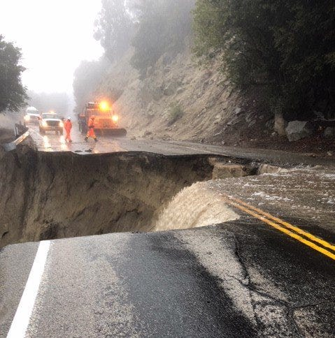 Sinkhole swallows part of Highway 243 near Idyllwild after storm hits