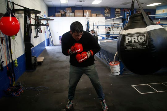"Omar ""Panterita"" Figueroa trains for his upcoming fight at the Indio Boys and Girls Club in February 2019."