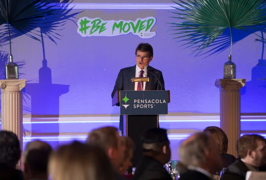 Master of ceremony Dan Shugart during the Pensacola Sports 65th Annual Awards Banquet at the New World Landing in Pensacola on Wednesday, February 13, 2019.
