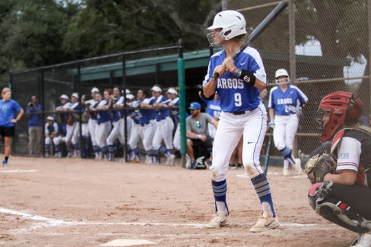 University of West Florida freshman Teala Howard waits for a pitch during a regular season game for the Argos in 2019.