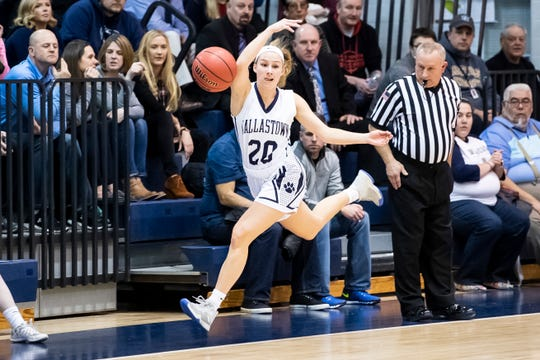 Dallastown's Lily Jamison saves the ball from going out of bounds after making a steal against Gettysburg in a YAIAA girls' semifinal game at Dallastown High School Wednesday, February 13, 2019.