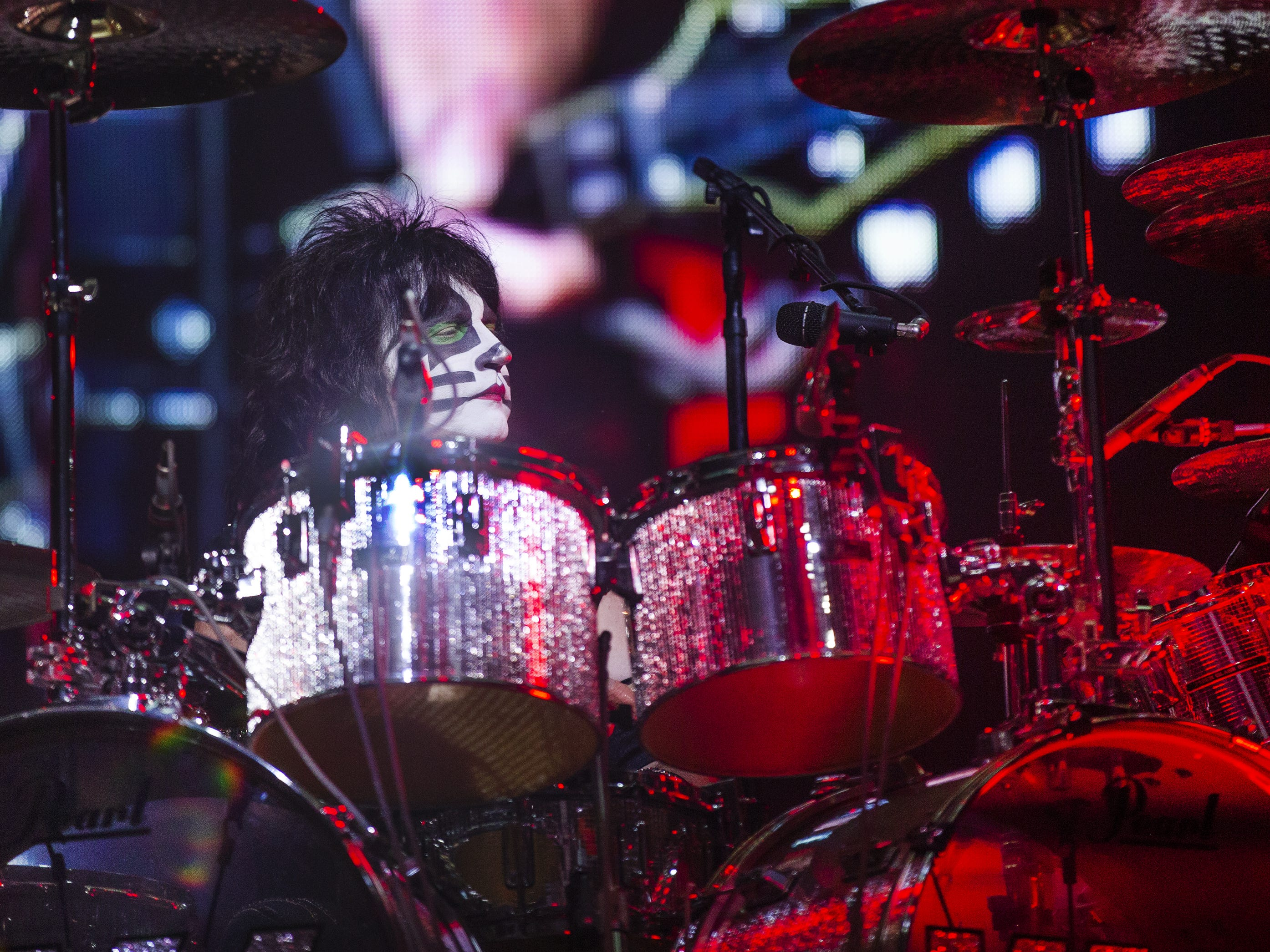 "Eric Singer of Kiss plays drums during the song ""Shout It Out Loud"" at Gila River Arena during the End of the Road World Tour stop in Glendale, Wednesday, Feb. 13, 2019. Thousands of fans came to see the band's farewell concert."