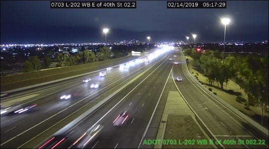 Two right lanes are reopened on eastbound Loop 202 near State Route 143 in Phoenix following a crash that had shut down all eastbound lanes.