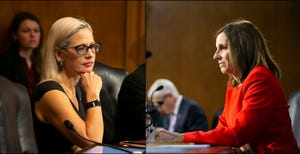 """U.S. Sen. Kyrsten Sinema (left) voted against advancing the """"skinny"""" COVID-19 proposal and Sen. Martha McSally voted to move it to a full vote."""