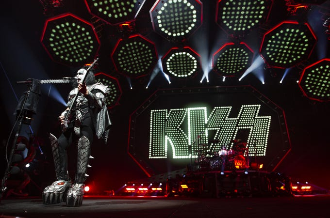"Gene Simmons of KISS sings ""Shout It Out Loud"" at Gila River Arena during the End of the Road World Tour stop in Glendale on Wednesday, Feb. 13, 2019.  Thousands of fans came to see the band's farewell concert."