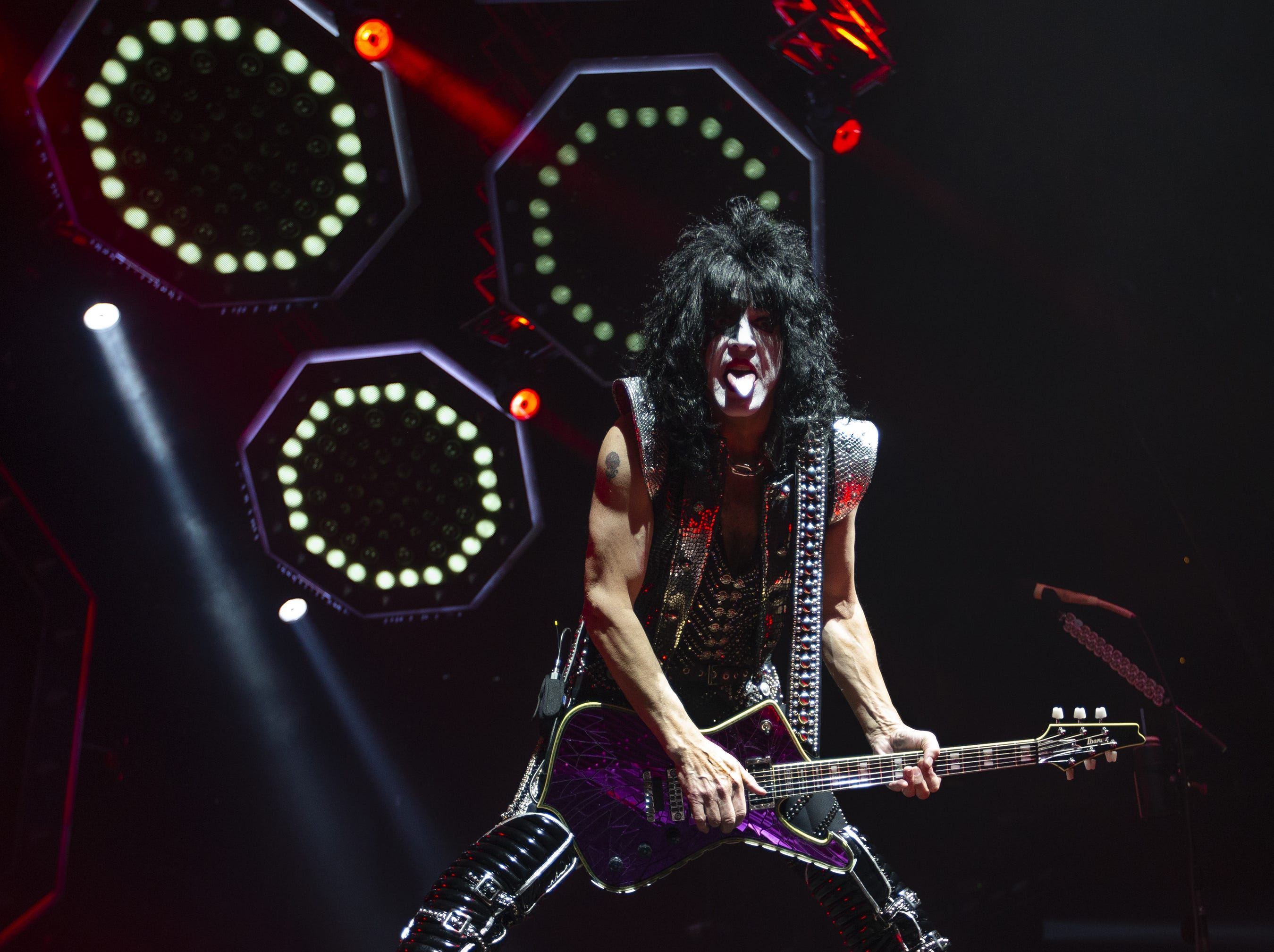 Paul Stanley of KISS rocks Gila River Arena during the End of the Road World Tour stop in Glendale on Wednesday, Feb. 13, 2019.  Thousands of fans came to see the band's farewell concert.