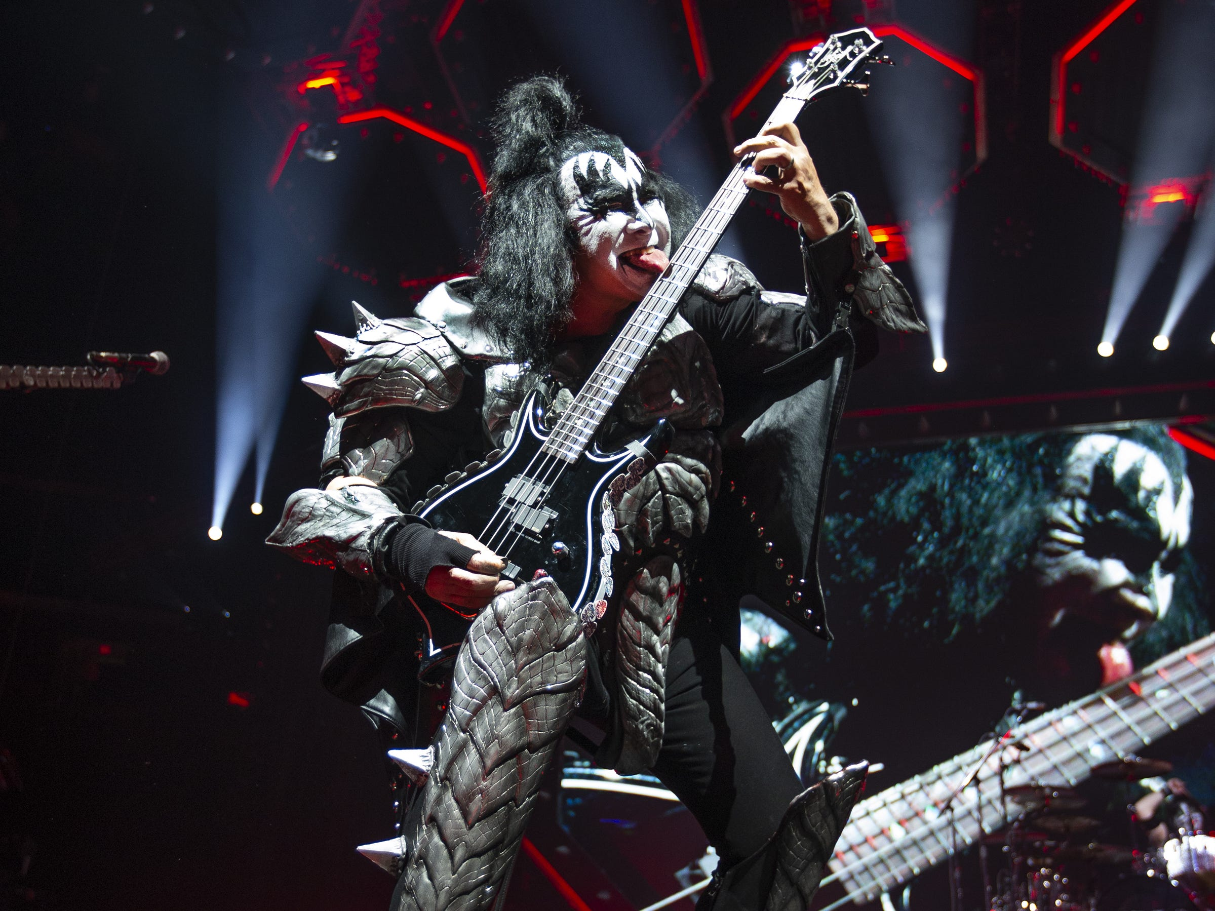 "Gene Simmons of Kiss plays ""Shout It Out Loud"" at Gila River Arena during the End of the Road World Tour stop in Glendale, Wednesday, Feb. 13, 2019. Thousands of fans came to see the band's farewell concert."
