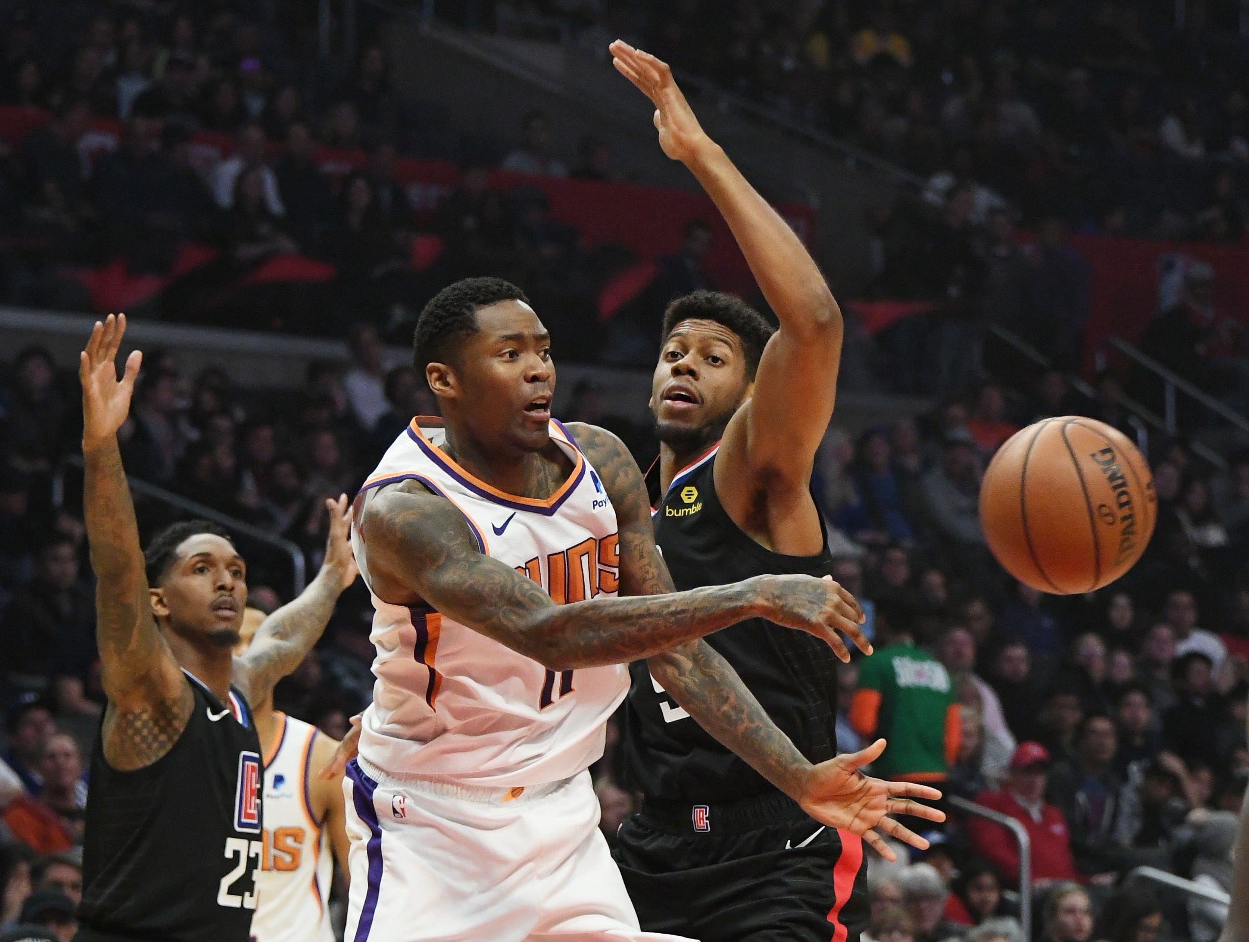 Feb 13, 2019; Los Angeles, CA, USA; Phoenix Suns guard Jamal Crawford (11) passes the ball against the LA Clippers in the first half at Staples Center. Mandatory Credit: Richard Mackson-USA TODAY Sports