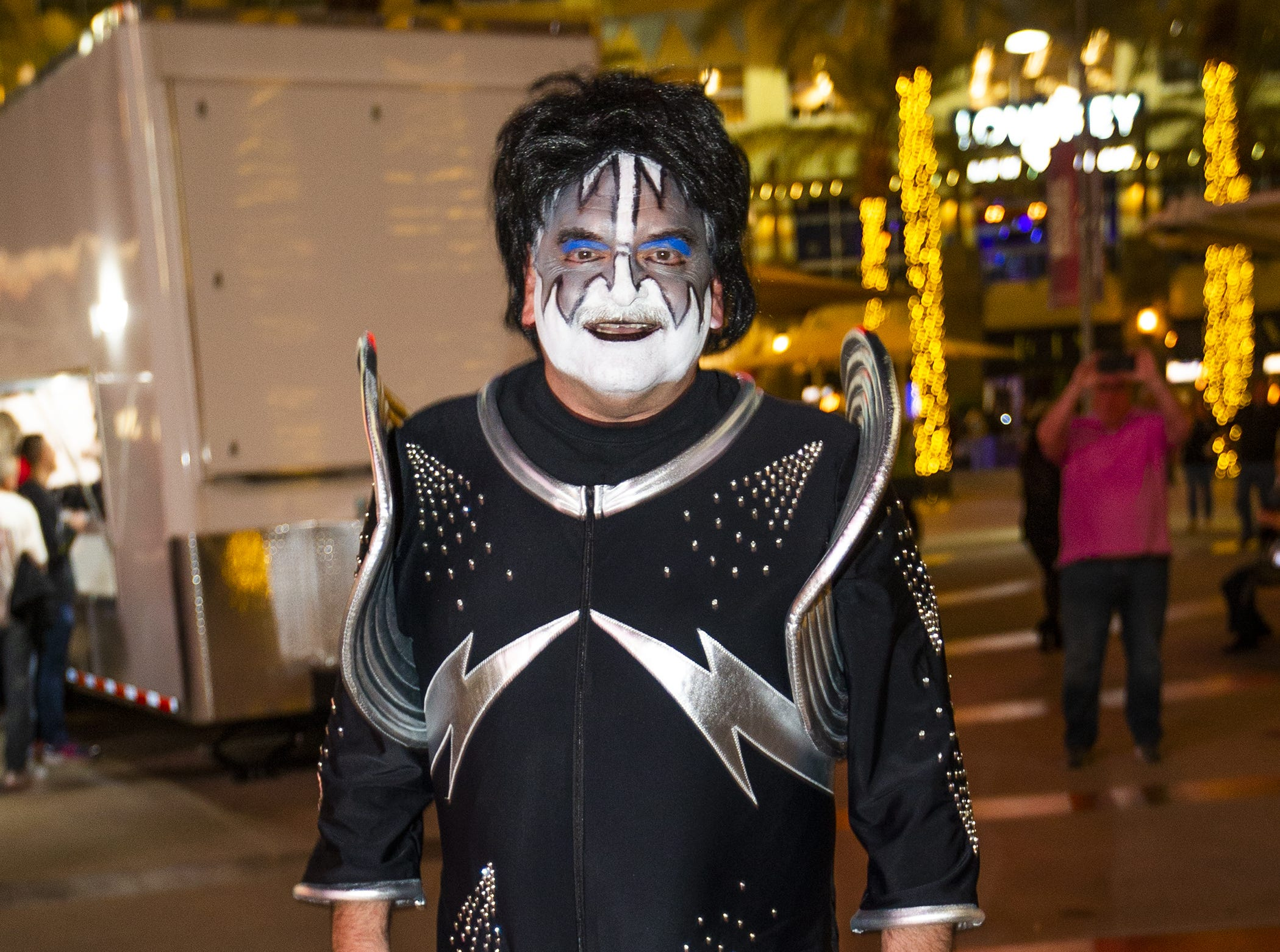 Mike Carico, 56, of Gilbert, shows off his best KISS makeup prior to the concert by the famed group at Gila River Arena in Glendale on Wednesday, Feb. 13, 2019.  The concert was part of the End of the Road World Tour, the band's farewell to the fans.