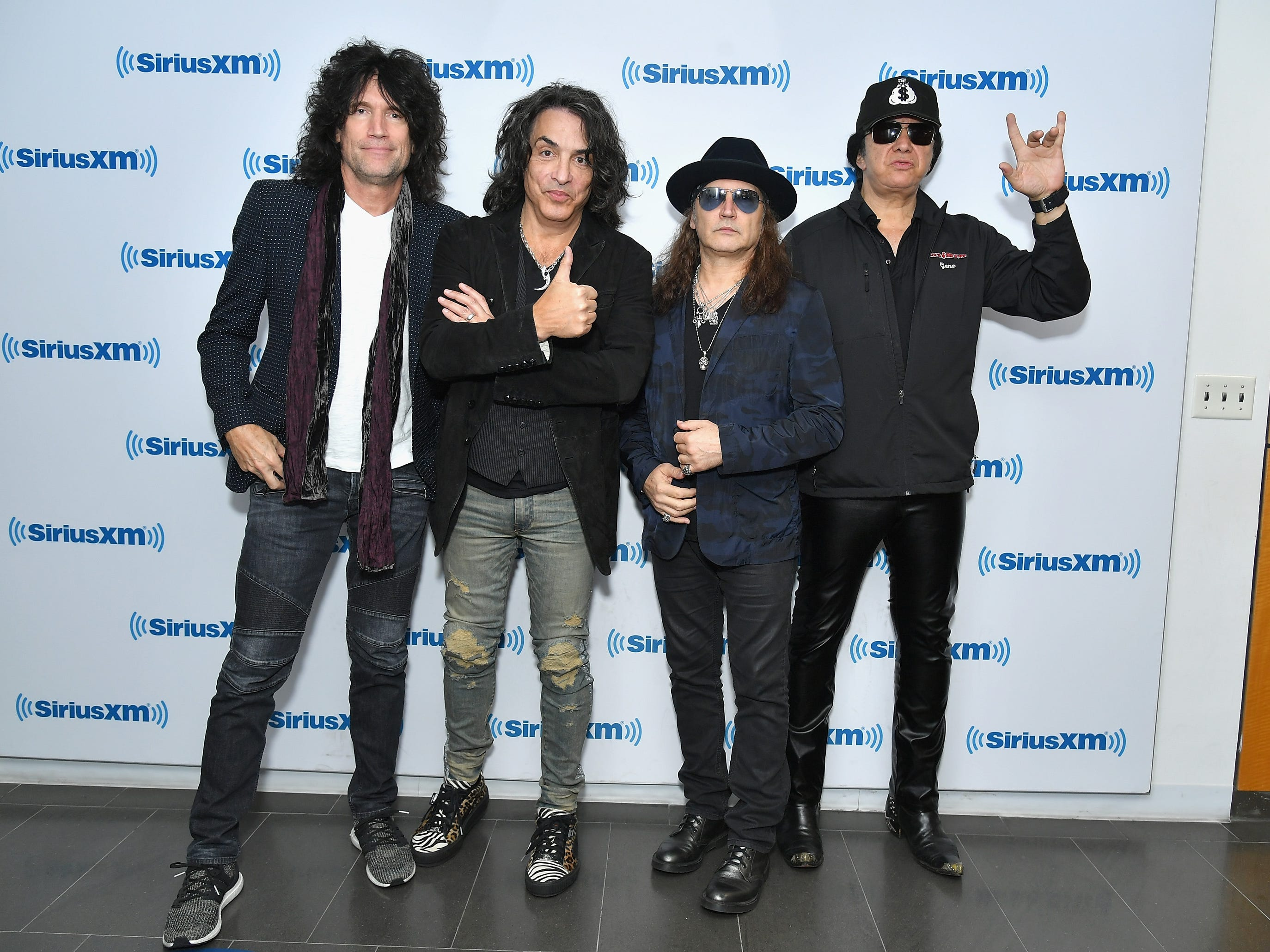 NEW YORK, NY - OCTOBER 29:  (L-R) Tommy Thayer, Paul Stanley, Eric Singer and Gene Simmons of the band KISS attend SiriusXM's Town Hall with KISS on October 29, 2018 in New York City.  (Photo by Michael Loccisano/Getty Images for SiriusXM)