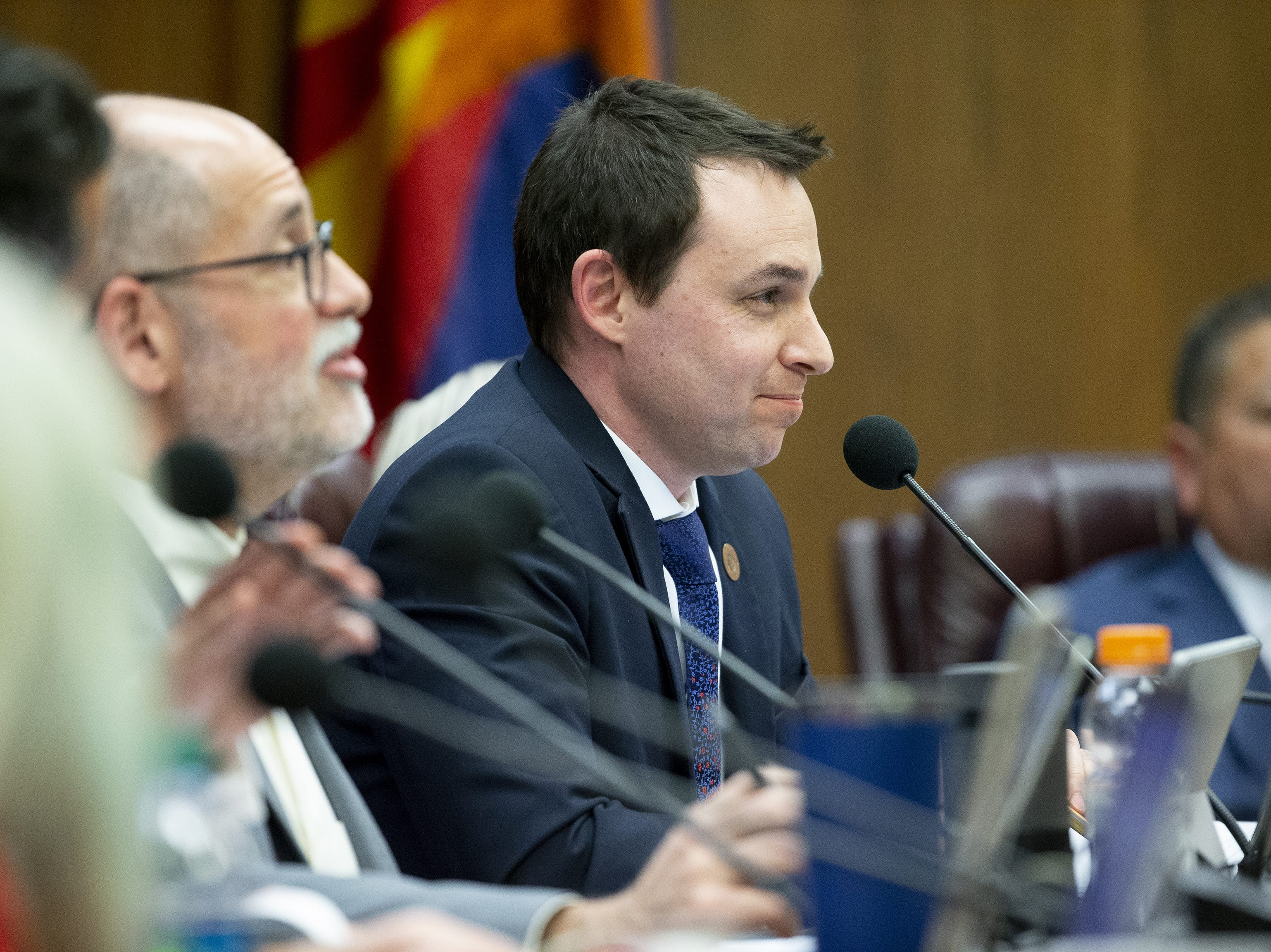 J.D. Mesnard, R-Chandler, senate finance committee chairman, listens during a hearing on school vouchers at the state Capitol in Phoenix on February 13.