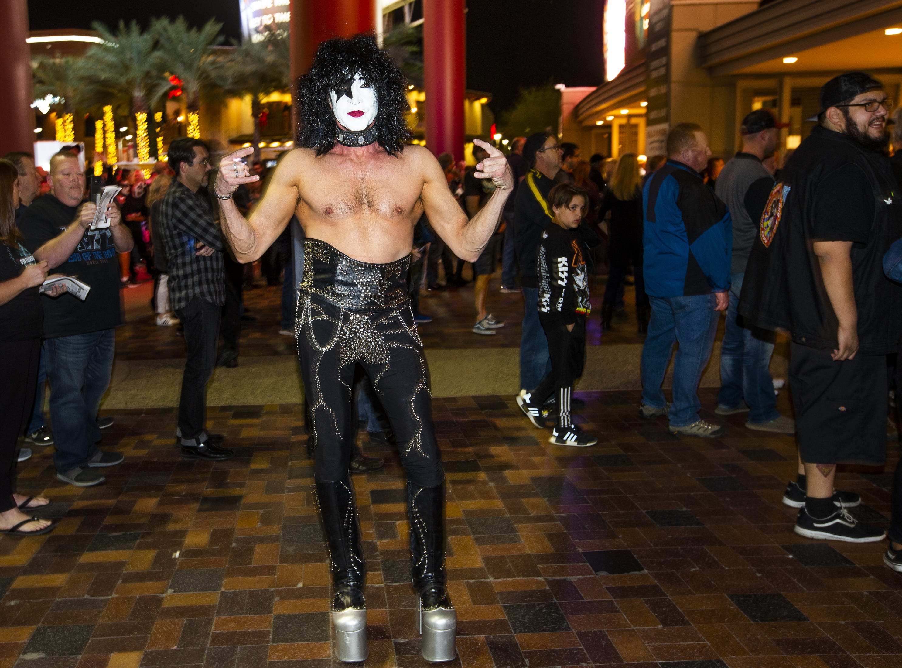 Kent Griffiths, 57, of Salt Lake City, Utah, shows off his best KISS makeup prior to the concert by the famed group at Gila River Arena in Glendale on Wednesday, Feb. 13, 2019.  The concert was part of the End of the Road World Tour, the band's farewell to the fans.
