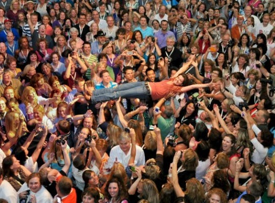 Amy Grant crowd-surfs during her Tennessee Weekend in Franklin, Tennessee.