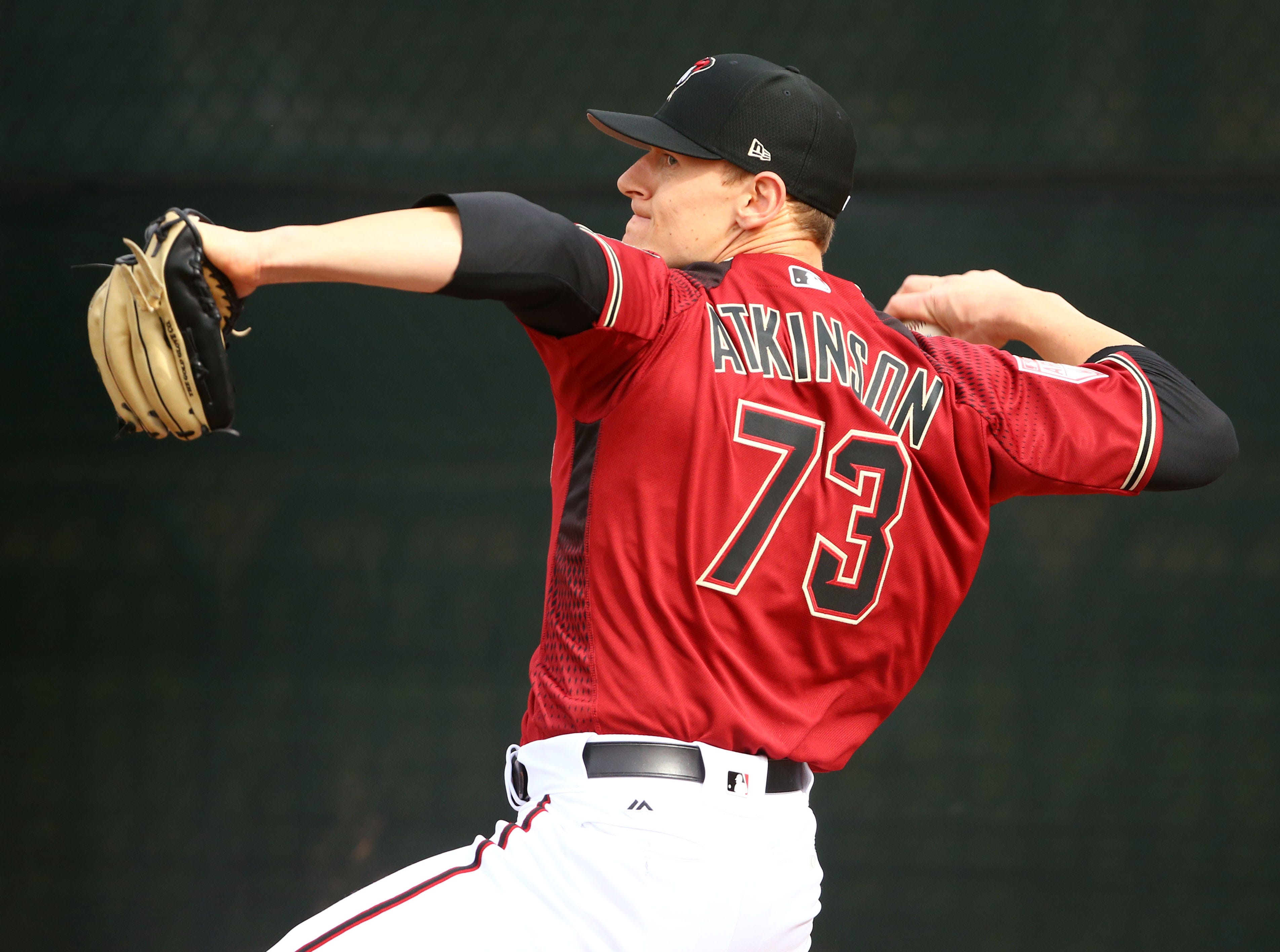 Arizona Diamondbacks pitcher Ryan Atkinson during the first day of spring training workouts on Feb. 13 at Salt River Fields in Scottsdale.