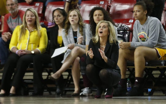 ASU coach Charli Turner Thorne yells out to her team during the first half of a game against Arizona on Feb. 16 at Wells Fargo Arena.