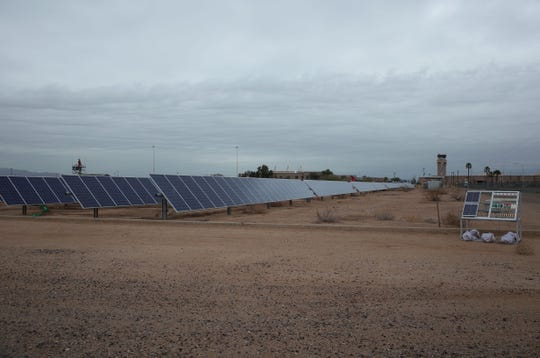 The 104-acre solar range at Luke Air Force Base supplies its power to APS.