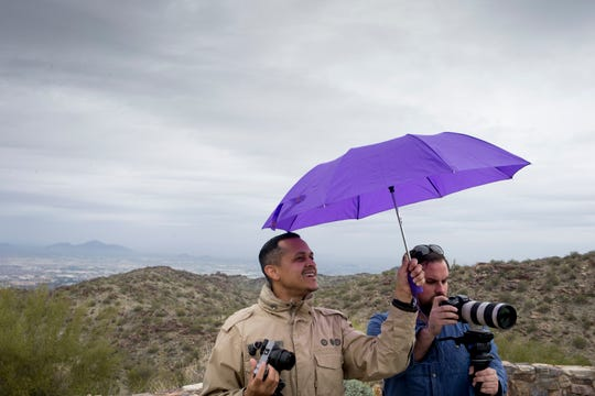 Ryan Kracinski (left) and Djada Salazar shoot a commercial for Smashbod, February 14, 2019, at South Mountain Park.