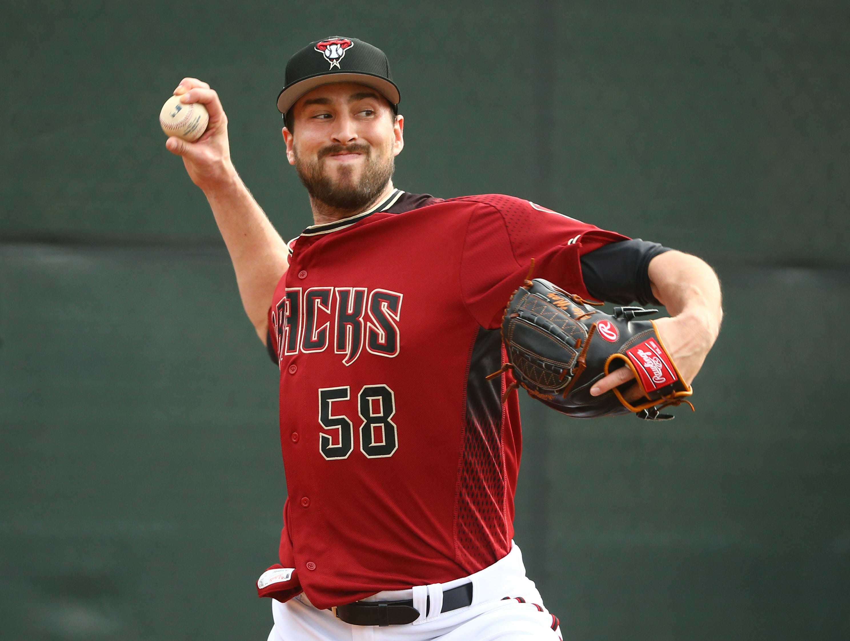Arizona Diamondbacks pitcher Stefan Crichton during the first day of spring training workouts on Feb. 13 at Salt River Fields in Scottsdale.