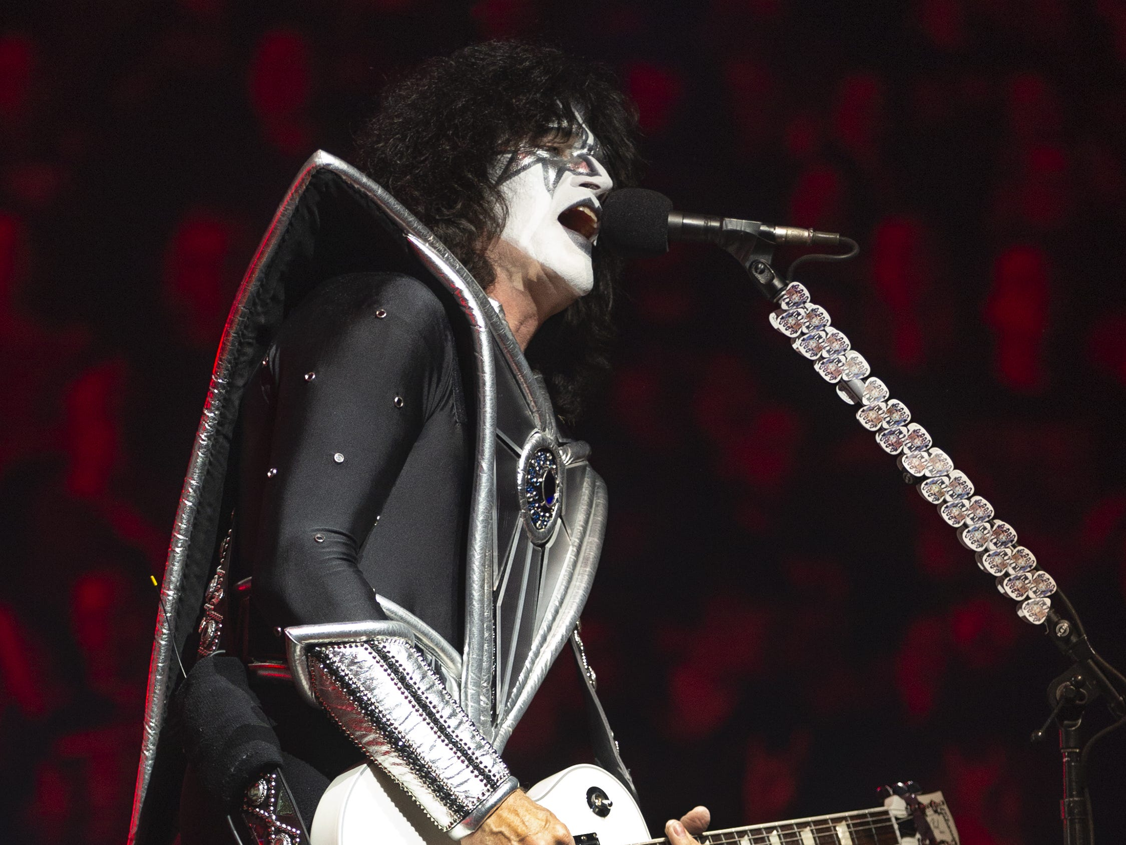 "Tommy Thayer of Kiss plays ""Shout It Out Loud"" at Gila River Arena during the End of the Road World Tour stop in Glendale, Wednesday, Feb. 13, 2019. Thousands of fans came to see the band's farewell concert."