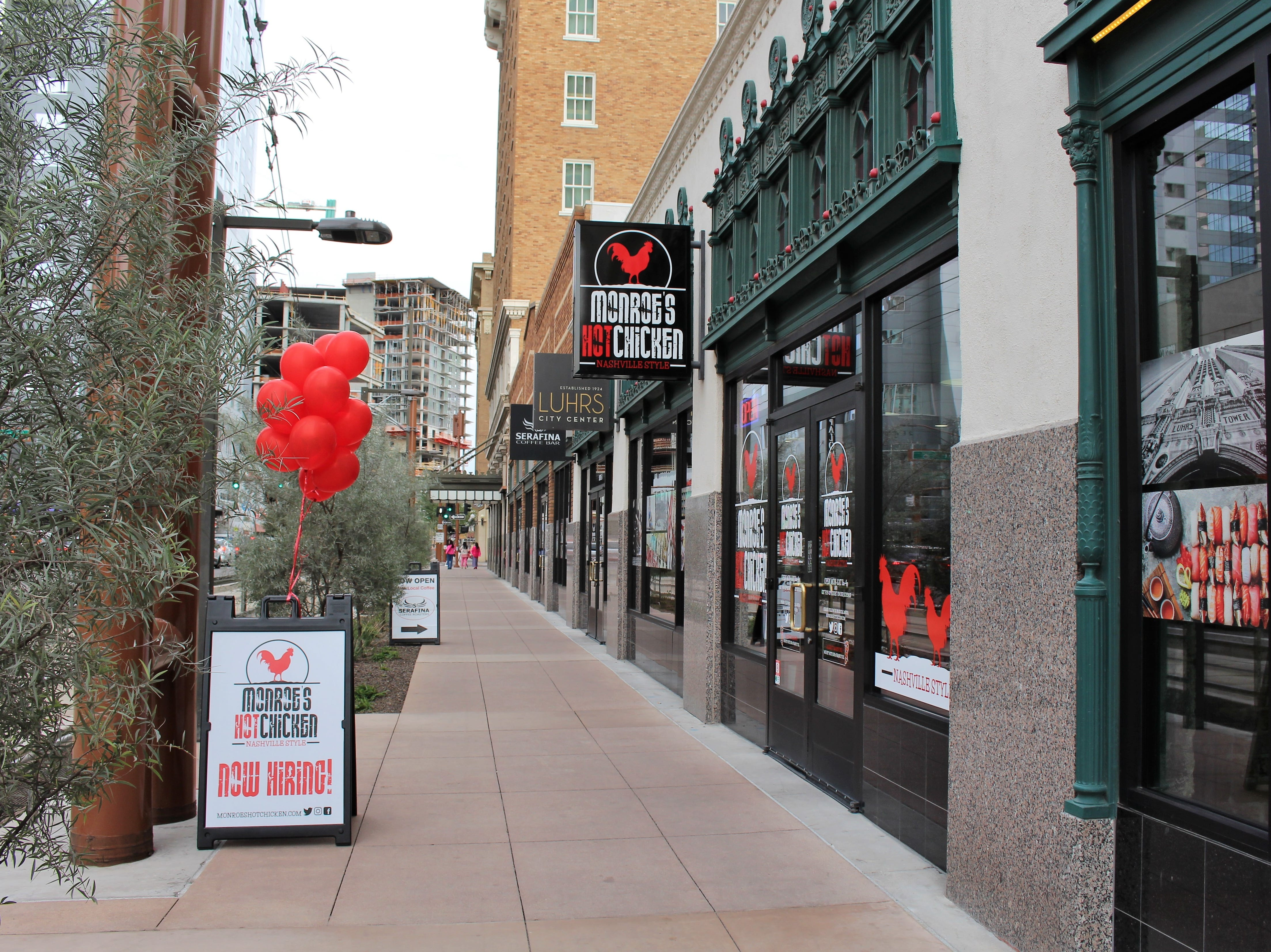 Monroe's Hot Chicken is located on the ground floor of the historic Lhurs Tower in downtown Phoenix.