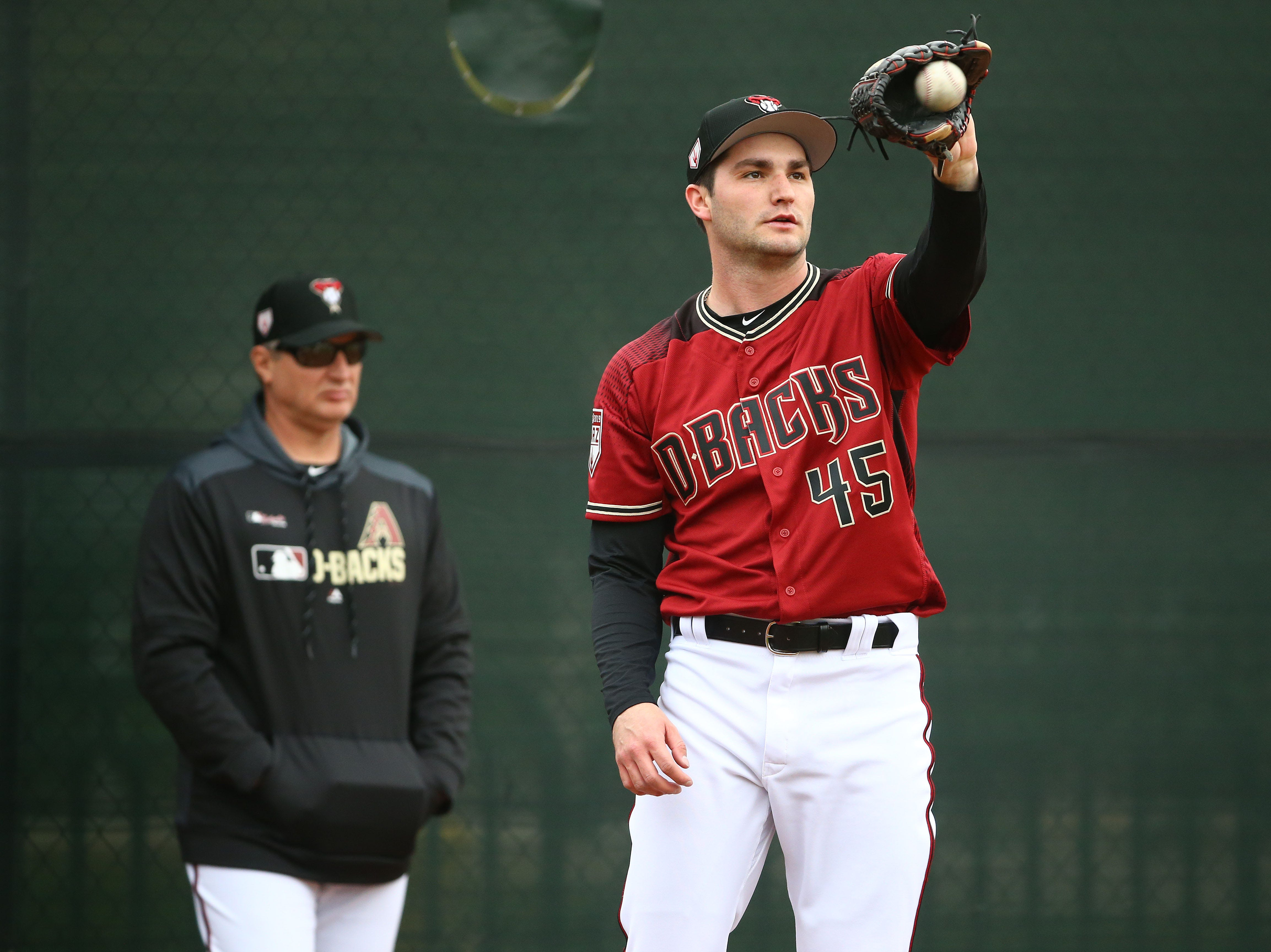 Arizona Diamondbacks pitcher Nick Green during the first day of spring training workouts on Feb. 13 at Salt River Fields in Scottsdale.